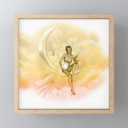 Wonderful fairy on a moon with dove Framed Mini Art Print