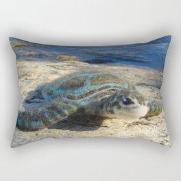 Green Sea Turtle Wool Sculpture Rectangular Pillow