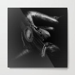 Guitar Woman Black and White Metal Print