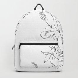 Small Wildflowers Minimalist Line Art Backpack