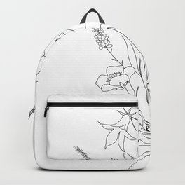 Small Wildflowers Minimalist Line Art Backpack