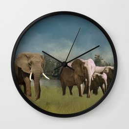Leaving The Watering Hole Wall Clock