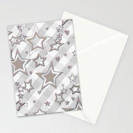 Holiday decor, shiny stars ,Christmas 2 Stationery Cards