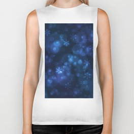 Blue Snowflakes Winter Christmas Pattern Biker Tank
