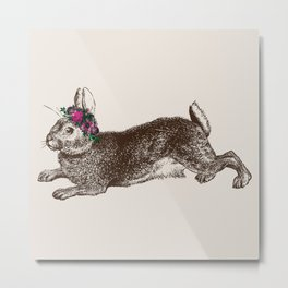 The Rabbit and Roses   Vintage Rabbit with Flower Crown   Bunny Rabbits   Bunnies   Hares   Metal Print