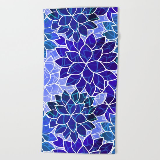 Azurite Blue Flowers Beach Towel