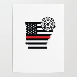 Arkansas Firefighter Shield Thin Red Line Flag Poster