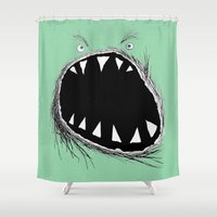 monster inc Shower Curtains featuring monster by Кaterina Кalinich