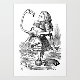 Vintage Alice in Wonderland flamingo croquet antique book drawing emo goth illustration art print  Art Print