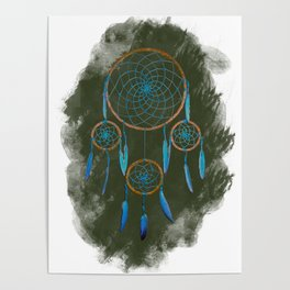 Dreamcatcher Turquoise: Green background Poster