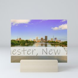 Rochester NY skyline with text added Mini Art Print