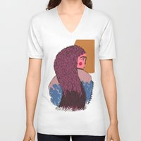 ruby V-neck T-shirts featuring Ruby by Saffa Khan