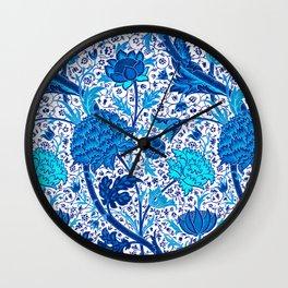 William Morris Jacobean Floral, Cobalt Blue Wall Clock
