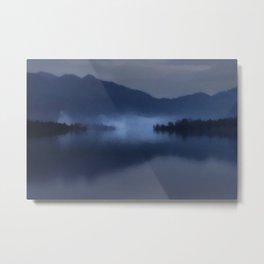 Fog on the Dark Mountain Lake Metal Print