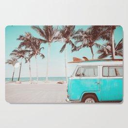 Retro Camper Van With Surf Board Cutting Board