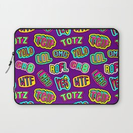 Colorful design with word patches. Laptop Sleeve