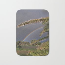 the rainbow and palm leaves Bath Mat