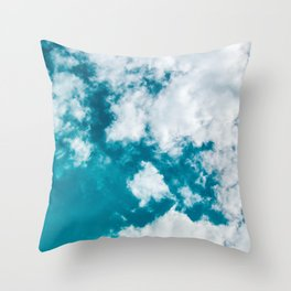 Sky Blue - Clouds Skyscape Photography Throw Pillow