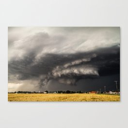 Ominous - Storm Looms Over Small Town In Oklahoma Canvas Print
