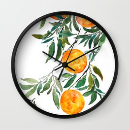 orange watercolor Wall Clock