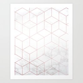 Rose Gold Geometric White Mable Cubes Art Print