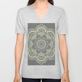 Mandala Flower Gray & Pastel Yellow Unisex V-Neck