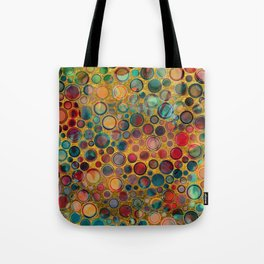 Dots on Painted and Gold Background Tote Bag