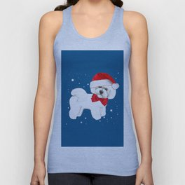 Bichon Frise red christmas holiday themed pattern print pet friendly dog breed gifts Unisex Tank Top