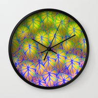 rare Wall Clocks featuring Rare Jungle, Rainbow by Lindel Caine