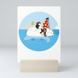Cute Penguin Lover Pirate Polar Bear Boat Ship Sailor Seaman Pirate Fan Gift Mini Art Print
