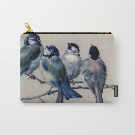 Vintage Cute Blue Birds on Branch Carry-All Pouch