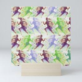 Watercolor women runner pattern Brown green blue Mini Art Print