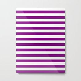 Narrow Horizontal Stripes - White and Purple Violet Metal Print