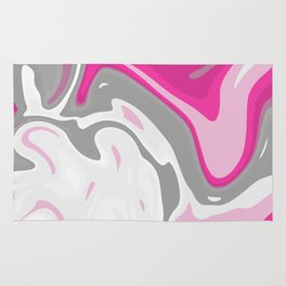 Grey and Pink Liquid Marble Effect Design Rug
