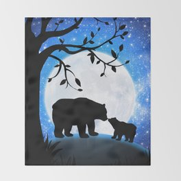 Moon and bears Throw Blanket