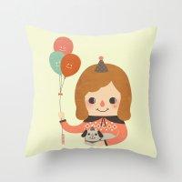 ballon Throw Pillows featuring Hold The Happy Ballon by Minifanfan