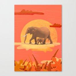 elephant sundowner Canvas Print