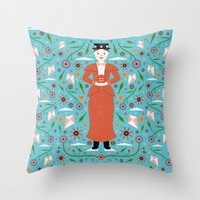 mary poppins Throw Pillows featuring Mary Poppins by Carly Watts