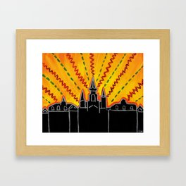 """Sunrise over Jackson Square New Orleans Hand Painted Cityscape 8""""x10"""" Acrylic Framed Art Print"""