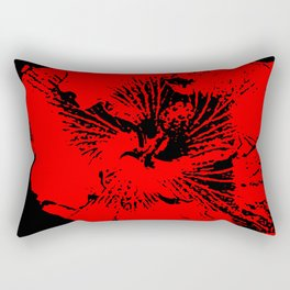 Abstract Red and Black Tropical Hawaiian Hibiscus Flower Rectangular Pillow