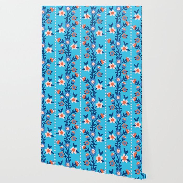 Chintzy Floral Stripe Wallpaper