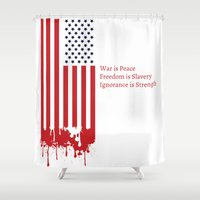 "1984 Shower Curtains featuring ""Today's Oceania"" Inspired by George Orwell's 1984 by Intricate Conspiracy"
