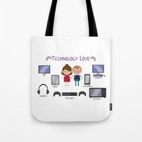 technology Tote Bags featuring Technology Love by Juliana Motzko