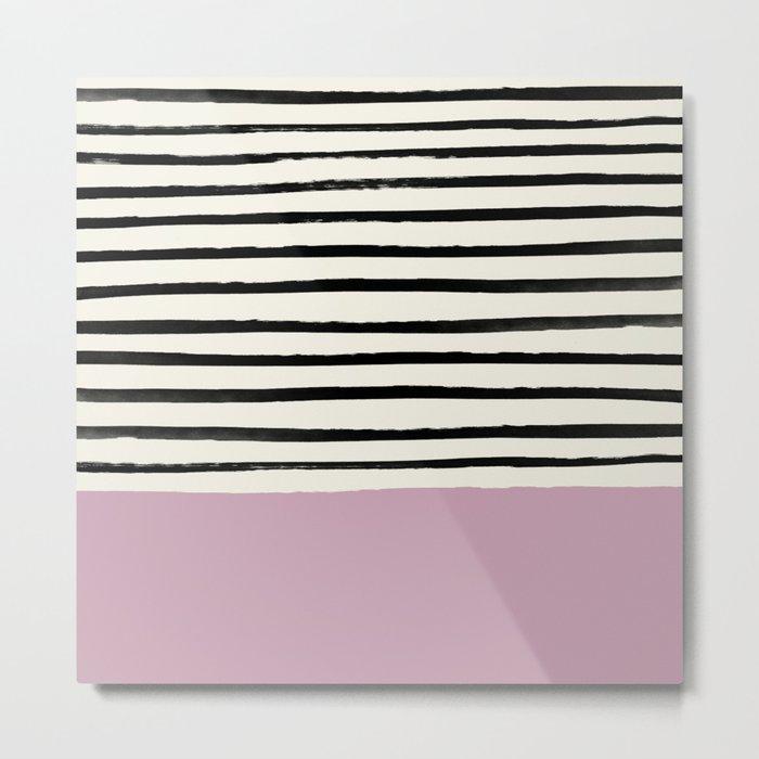 Dusty Rose & Stripes Metal Print