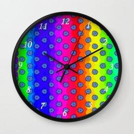 Rainbow and blue flowers Wall Clock