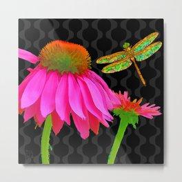 Flower Pop, floral Pop Art Echinacea, dragonfly Metal Print