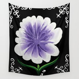 Large Flower Filigree Scroll Floral Art Acrylic Painting Purple Flower Wall Tapestry