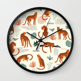 Seamless pattern with leopards Wall Clock