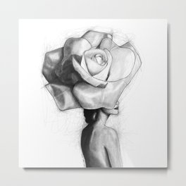 The woman with the head of a rose - Christy Turlington Metal Print