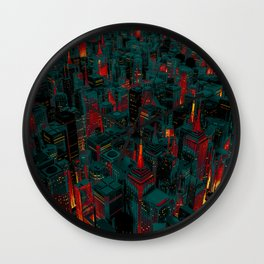 Night city glow cartoon Wall Clock